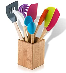 9 Piece Silicone Bamboo Kitchen Tool Set