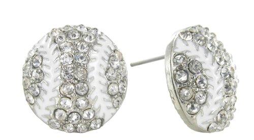 White Lace Baseball Rhinestone Stud Earrings - Clear Crystal Baseball with White Enamel Stripes