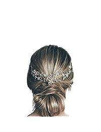 Missgrace Wedding Bridal Crystal Rhinestone Leaf Bridal Headband Headpiece Evening Hair Accessories