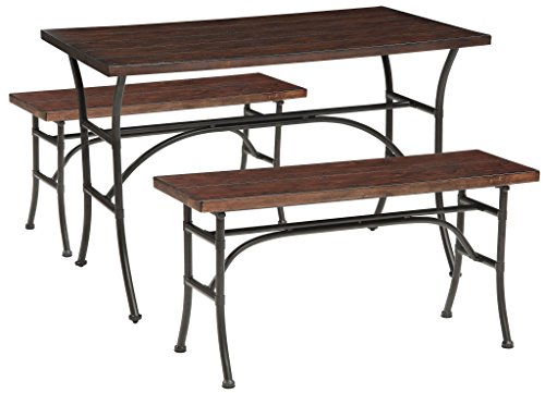 Major-Q 9071665 3Pc Pack Industrial Style Walnut Finish Antique Black Metal Base Dinning Table and 2 Benchs Set