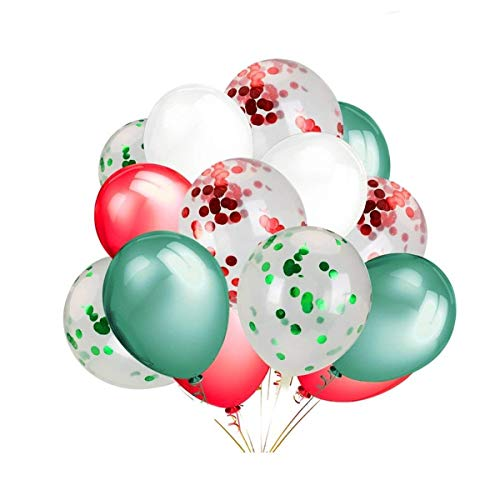 LeeSky 12 Pack 12 Inch Red & Green Confetti Balloons,30 Pack Red & Green & White Color Party Balloons -Christmas Party New Year Party Decoration Supplies (Christmas Balloons Latex)