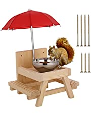 Squirrel Feeder Removable Wooden Squirrel Feeding Table with Bowl Umbrella and Corn cob Stand Chipmunk Squirrel Lover Gift Bird Feeding Table with Bench for Garden Garden Tree Outdoor
