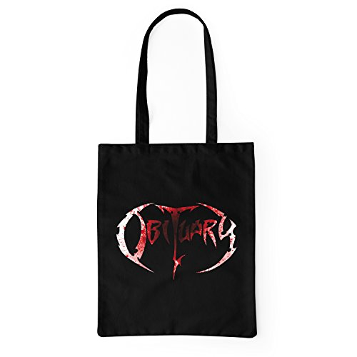 Lamaglieria Obituary Cabas Bag Tote Shopping Noir Coton Logo 100 Blood A47rAR6Wq