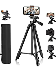 Tripod, 55 Inch Camera Tripod with Universal Smartphone Holder, Lightweight Aluminum Travel Tripod with Carry Bag, Maximum Load Capacity 6.6 LB, for Rangefinder, Digital Camera, Phone - MLT01