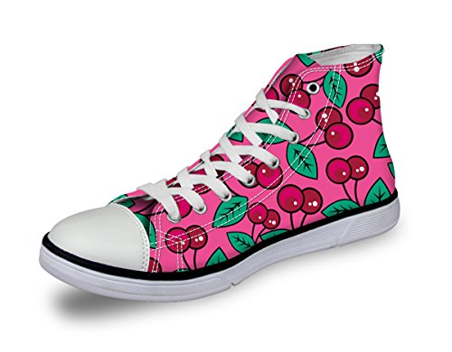 High Top Bike Sock - Cherry Printed Canvas Skate Trainers Girl Cute Pink Plimsoll Basic Walking Shoe