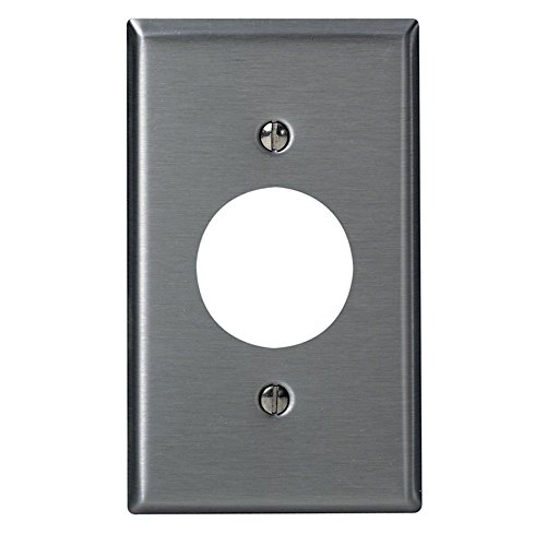Leviton 84004-40 1-Gang, Single 1.406-Inch Hole Device Receptacle Wallplate, Standard Size, Device Mount, Stainless Steel (Single Outlet Wall Plate)