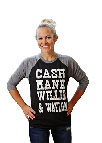 CASH HANK WILLIE & WAYLON Baseball Raglan Sleeve Shirt by Tough Little (Western Ladies T-shirts)
