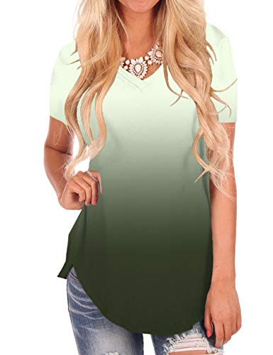 Womens Summer Short Sleeve V Neck T Shirt Side Split Comfy Top Ombre Army Green L