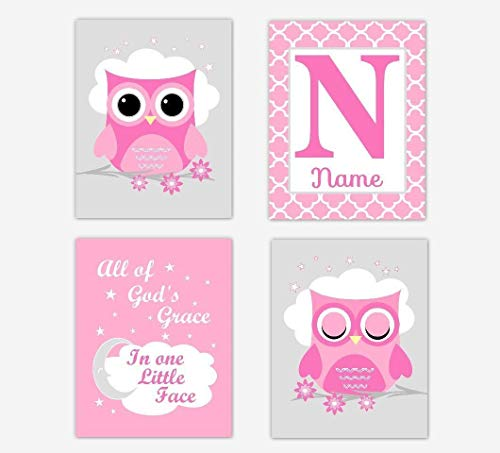 Pink Owl Baby Girl Nursery Art Prints Personalized All Of Gods Grace Baby Nursery Decor SET OF 4 UNFRAMED PRINTS