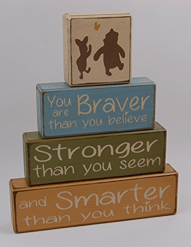 (Winnie The Pooh Classic-You Are Braver Than YOu Believe-Stronger Than You Seem-Smarter Than You think - Primitive Country Wood Stacking Sign Blocks-Nursery Room-Baby Shower Gift-Boys)