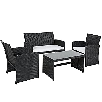 Best Choice Products 4-Piece Wicker Patio Furniture Set w/Tempered Glass, 3 Sofas, Table, Cushioned Seats