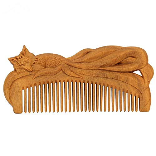 BAYUE Dropship Hand-carved Green Sandalwood Craft Comb For Hair Fox Swan Massage Combs Vintage Hair Brush Styling Tools Gift (Color : A) by BAYUE