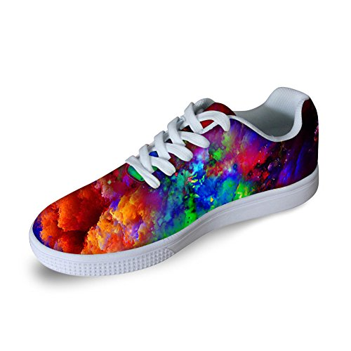 断線事務所データベースFor U DesignsファッションGalaxy Print Lace Up Flat withカジュアルメンズスケートボード靴