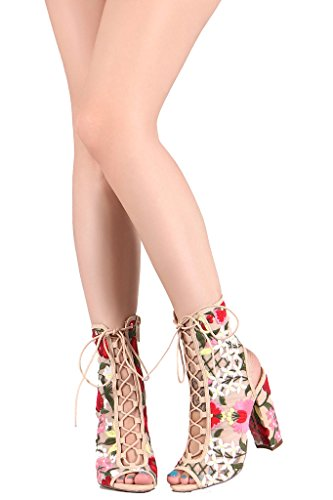 Floral Leather Heels (Liliana Peep Toe Lace Up Bootie W/Mesh Corset Embroidered Floral Block Heel Ankle Boot Crochet Sage-59 (nude 8.0))