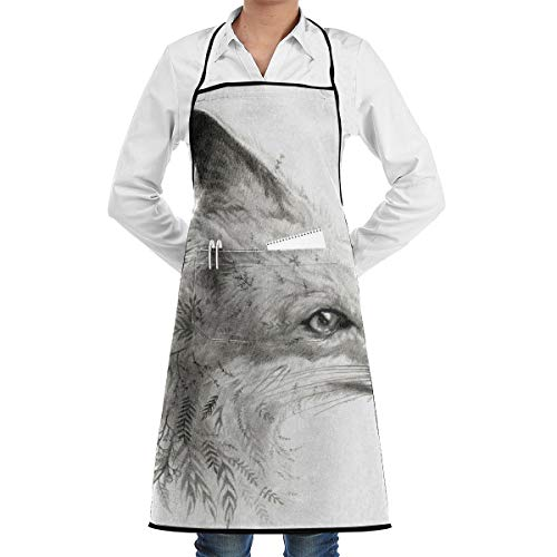 LALACO-Design A Young Fox Cooking Women Kicthen Bib Aprons with Pockets for Chef,Grandma Suitable for Baking,Grilling,Painting Even Fit for Arts,Holiday]()