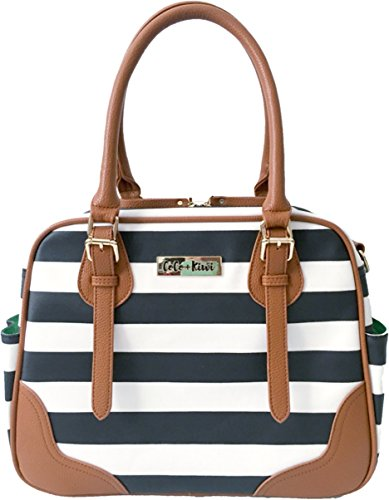 Black Glazed Leather Messenger (Coco and Kiwi Convertible Provence Bag - Ebony Stripe)
