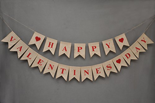 Happy Valentine's Day Banner - Burlap Banner - Window And Door Cling - Valentine Day Bunting - Photo Prop - Removable - Reusable - Heart Banner - February - Day Valantines Date