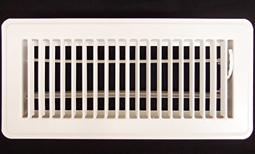 4 X 12 Floor Register with Louvered Design - Heavy Duty Rigid Floor Air Supply with Damper & Lever - White