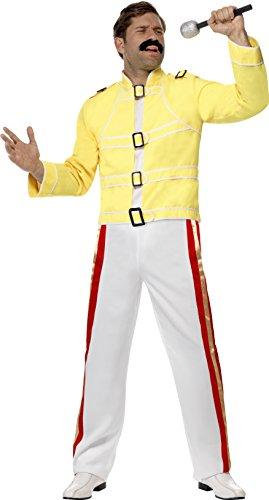 Freddie Mercury Kids Costume (Smiffy's Men's Rock Star Economy Costume, Jacket and pants, Icons and Idols, Serious Fun, Size M, 28301)
