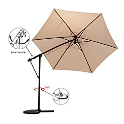 Garden and Outdoor Grand patio 10Ft Offset Patio Umbrella, 360° Rotation Outdoor Patio Cantilever Hanging Umbrellas w/Cross Base, Crank… patio umbrellas