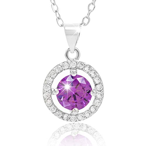 Soulcrystal Love Princess Round Sterling Silver Pendant Necklace Bezel Purple Diamond by Soulcrystal