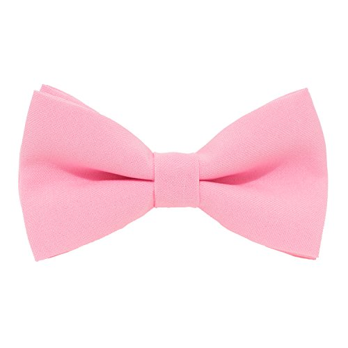 Classic Pre-Tied Bow Tie Formal Solid Tuxedo, by Bow Tie House (Small, Pink)