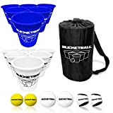 BucketBall - Team Color Edition - Combo Pack (Navy Blue/White): Original Yard Pong Game: Best Camping, Beach, Lawn, Outdoor, Family, Adult, Tailgate Game