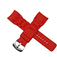 Swiss Legend 29MM Red Silicone Rubber Watch Strap w/Silver Buckle fits 47mm Commander Watch