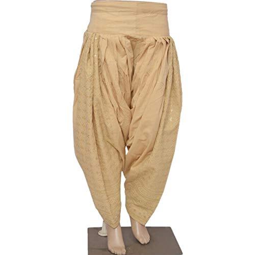 (Indian Punjabi Cotton Patiala Salwar with Chikan Embroidery and Sequins Work, Pakistani Shalwar, Casual Pants Beige)