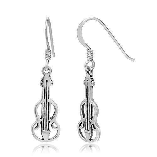 925 Sterling Silver Cut Open Violin Viola Musical Instrument Dangle Hook Earrings