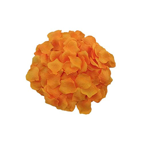 MXXGMYJ 1000pcs Orange Rose Petals for Weddings Fake Silver Rose Petals Dried Rose Wedding Bouquet Artificial Flowers Wedding Party Decoration Table Confetti