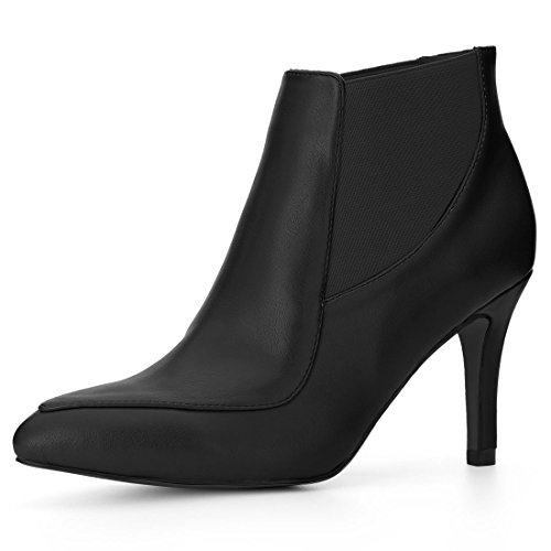 Heel Pointed Booties Women's Allegra Stiletto Chelsea K Toe Black qR6twWPw