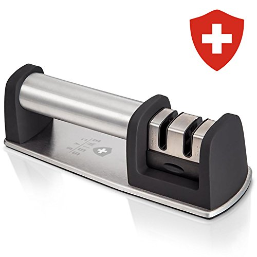 Kitchen Knife Sharpener – 2-Stage Knife Sharpening Tool Helps Repair, Restore and Polish Blades, Afilador de Cuchillos by Swiss Cas