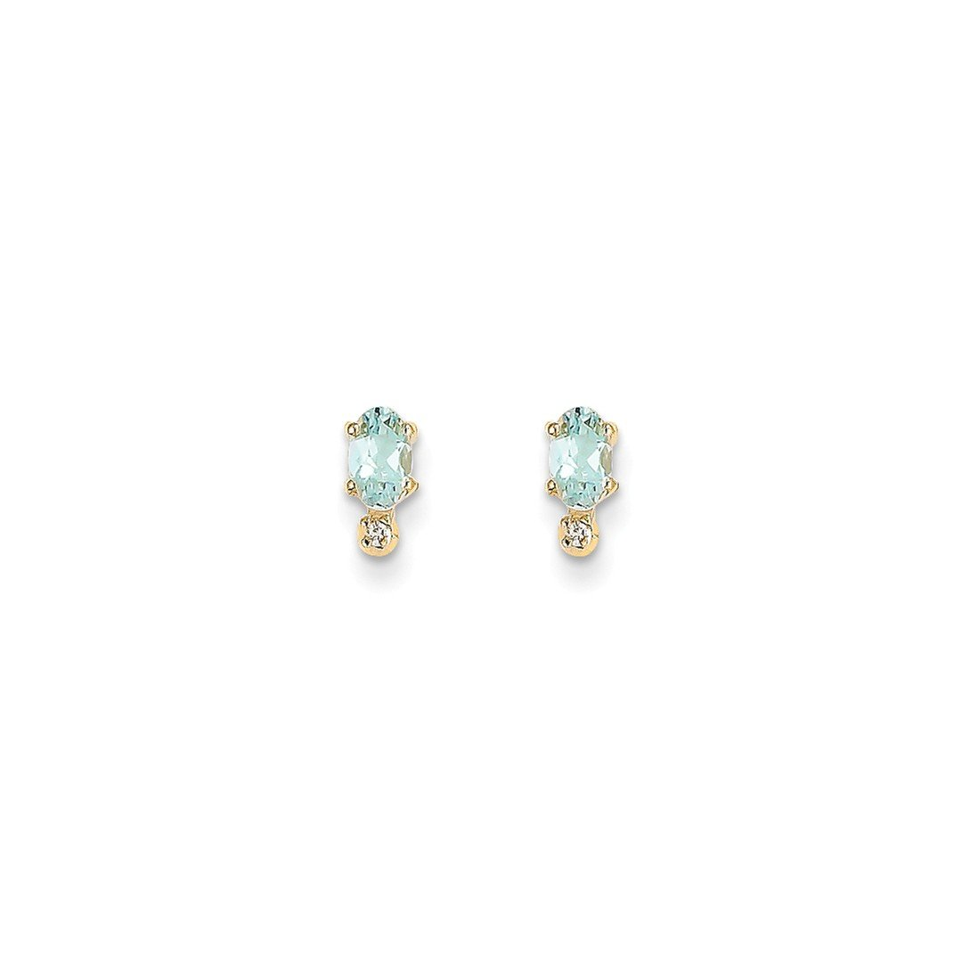 ICE CARATS 14k Yellow Gold Diamond Blue Aquamarine Birthstone Post Stud Ball Button Earrings March Fine Jewelry Gift For Women Heart