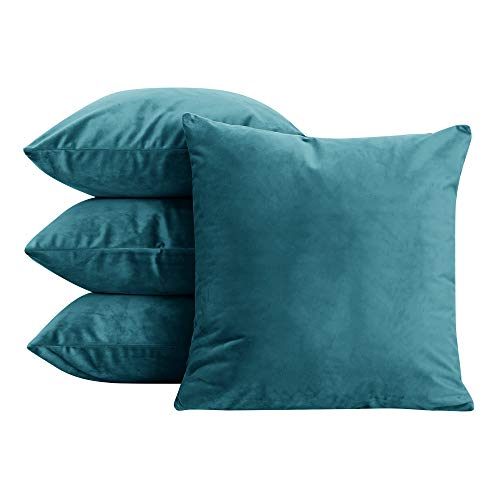 Deconovo Home Decorative Pillow Covers Plush Velvet Super Soft Couch Throw Cushion Covers with Invisible Zippered Teal 20x20 Inch Set of 4