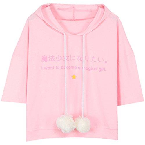 - Harajuku Women Fashion Pink Star Japanese Letter Short Sleeve Hoodie T Shirt,Pink