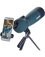 25-75x70mm Spotting Scopes with Tripod, Phone Adapter & Carrying Bag, Zoom BAK4 Prism 45 Degree Waterproof Telescope for Target Shooting Bird Watching Hunting Wildlife Scenery
