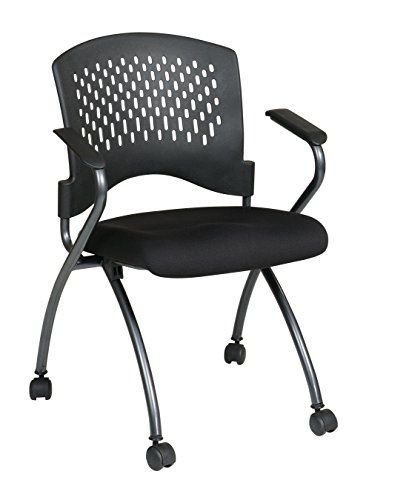 Office Star Set of 2 Folding Chair with Arms in Coal ()