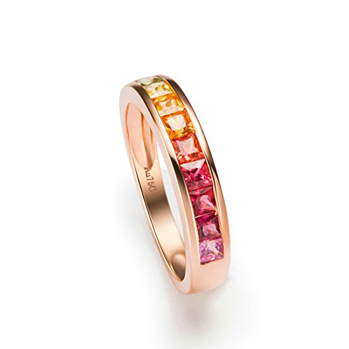 Gnzoe Rose Gold Women Wedding Rings Solitaire Promise Rings Rose Gold with Colorful 1ct Sapphire Size 5 by Gnzoe