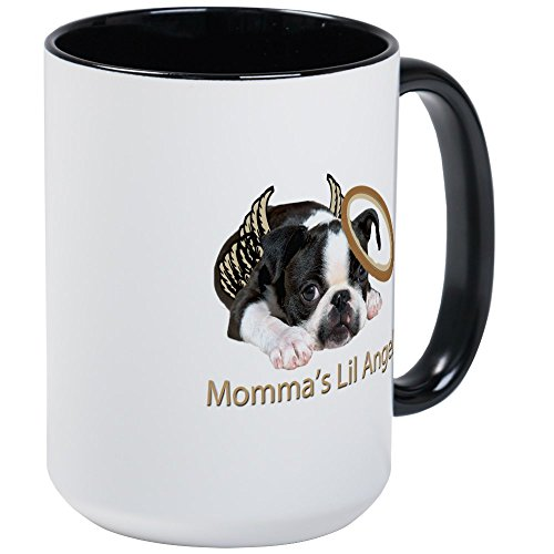 CafePress - Mommas Lil Angel Boston Terrier Mug - Coffee Mug, Large 15 oz. White Coffee - Angel Large Mug