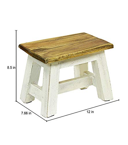 Handcrafted White Finish European Home Step Stool 8.5