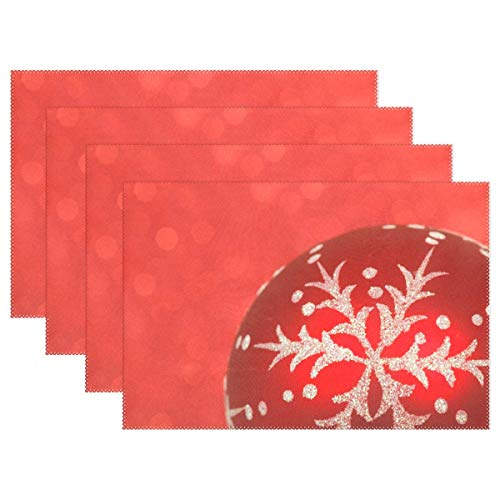 - Promini Heat-Resistant Placemats, Christmas Holiday Celebration Xmas Red Washable Polyester Table Mats Non Slip Washable Placemats for Kitchen Dining Room Set of 4