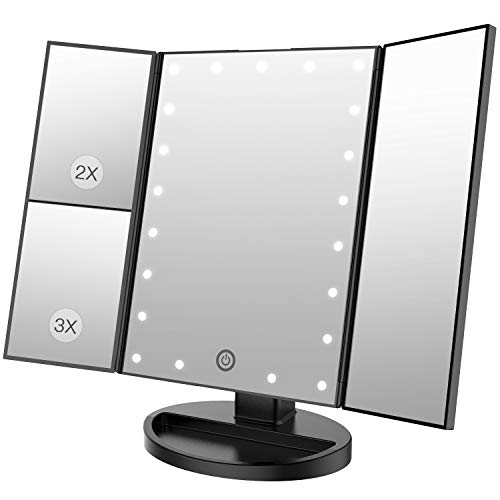 BESTOPE Makeup Vanity Mirror with 3x/2x Magnification,Trifold Mirror with 21 Led Lights,Touch Screen, 180° Adjustable Rotation,Dual Power Supply, Countertop Cosmetic Mirror by BESTOPE