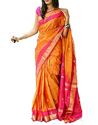 ff77ae992 Generic Women's Uppada Pattu Silk Saree (ac15, Yellow, Free Size):  Amazon.in: Clothing & Accessories