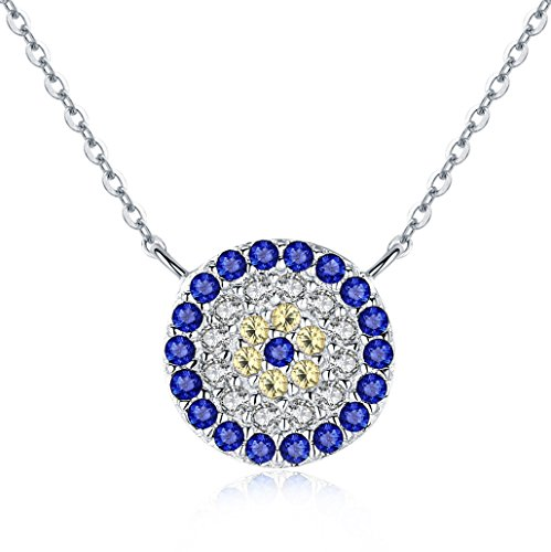 BAMOER 925 Sterling Silver Expandable Lucky Blue Evil Eye Necklace with Sparkling Cubic Zirconia for Women Girls Style 3