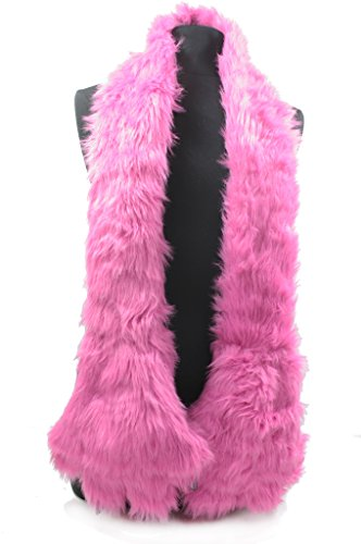 LL Plush Faux Fur Scarf with Monster Claw Paws Hand Pockets (Hot Pink) (Mens Dress Up Outfits)