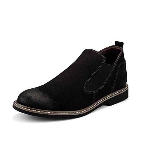 Scarpe da uomo in pelle casual vestito autunno stivali wedding moda] slip on marrone-nero-nero Lunghezza piede=38.5EU