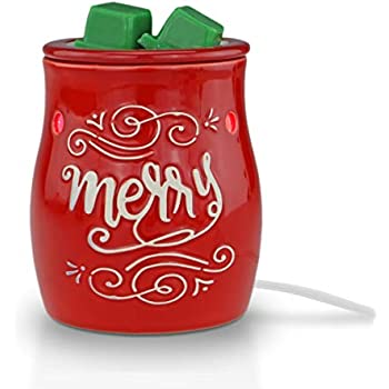 STAR MOON Pluggable Fragrance Warmer Wax Melter for Christmas Decoration Home/Dorm/Office No Flame No Smoke No Soot Packaged Together with Two Bulbs-Merry Christmas Classical Red