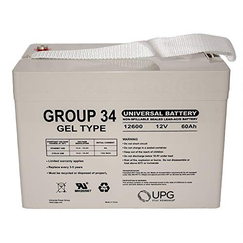 12V 60AH Group 34 Replacement for Sealed Gel MK Batteries ()