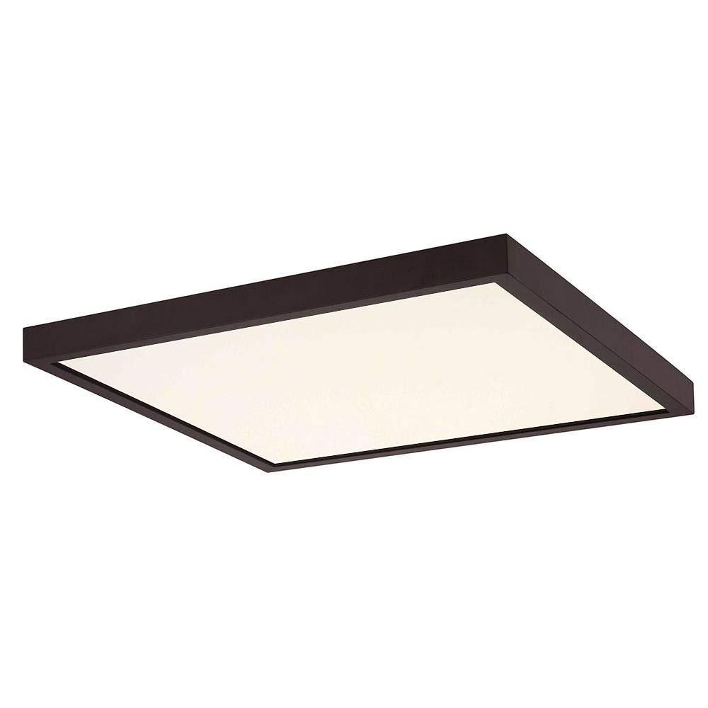 Flat LED Light Surface Mount 14-Inch Square Bronze 2700K 1560LM